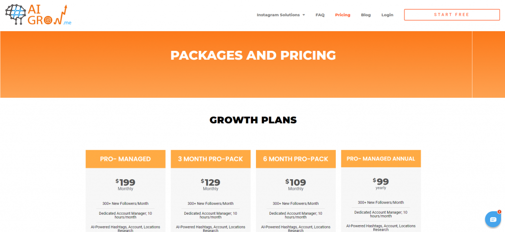 Pricing Packages of AiGrow - Upleap Vs AiGrow